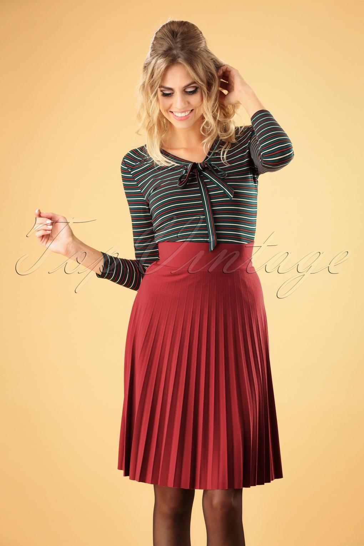 60s Skirts | 70s Hippie Skirts, Jumper Dresses 60s Soleil Plisse Border Skirt in Cardinal Pink £70.01 AT vintagedancer.com