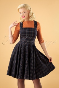 40s Peebles Pinafore Tartan Dress in Navy