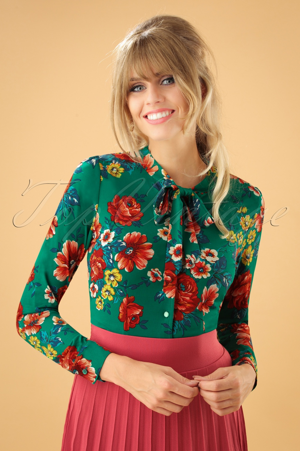 Women's 70s Shirts, Blouses, Hippie Tops 70s Olivia Melrose Bow Blouse in Fern Green £61.25 AT vintagedancer.com