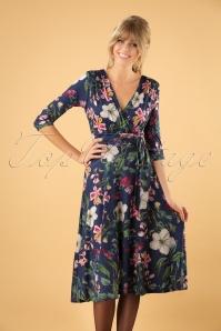 50s Lenora Floral Midi Dress in Navy