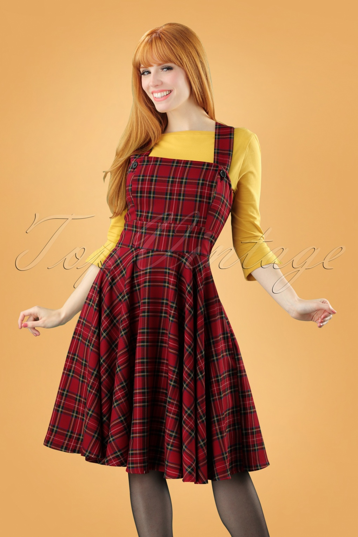 1960s Dresses | 60s Dresses Mod, Mini, Jakie O, Hippie 40s Peebles Pinafore Tartan Dress in Red £50.92 AT vintagedancer.com