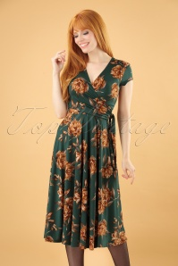 Layla Floral Cross Over Dress Années 50 en Vert Sapin