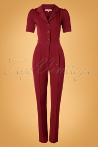 40s Classic Jumpsuit in Deep Red