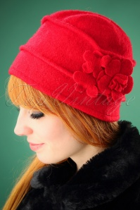 60s Mary Wool Hat in Red