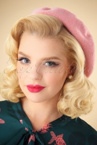 50s Classy Wool Beret in Pink