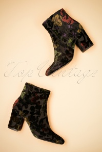 70s Floral Velvet Ankle Booties in Black