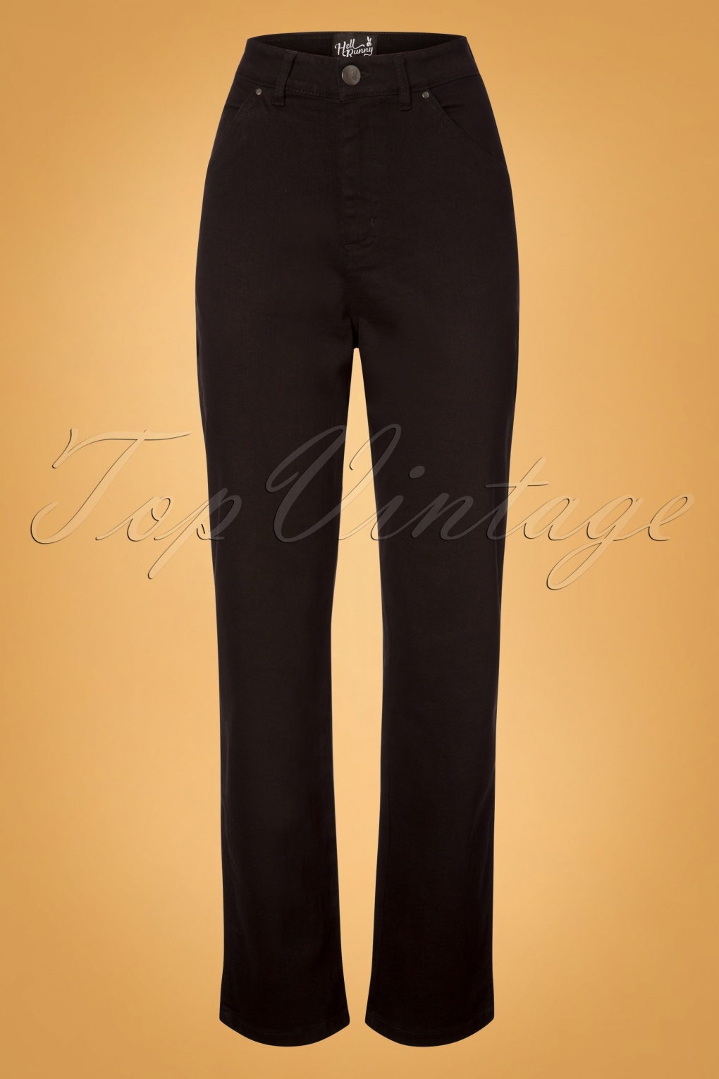 Vintage High Waisted Trousers, Sailor Pants, Jeans 50s Carpenter Jeans in Black £38.33 AT vintagedancer.com