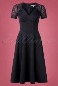 50s Hollywood Circle Dress in Navy Lace