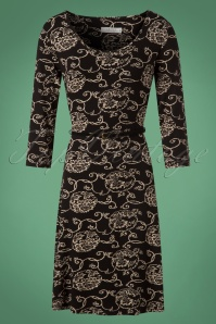 60s Florette Floral Dress in Black