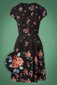 50s Ellen Roses Dress in Navy