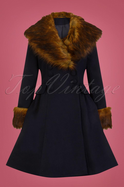 Vintage Coats & Jackets | Retro Coats and Jackets 50s Roxy Coat in Navy £130.54 AT vintagedancer.com