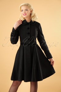 50s Olivia Bow Coat in Black