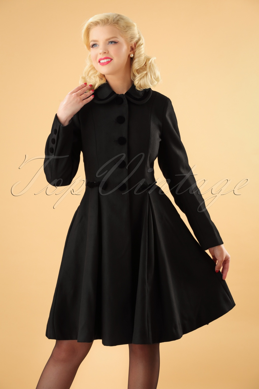 Vintage Coats & Jackets | Retro Coats and Jackets 50s Olivia Bow Coat in Black £114.89 AT vintagedancer.com