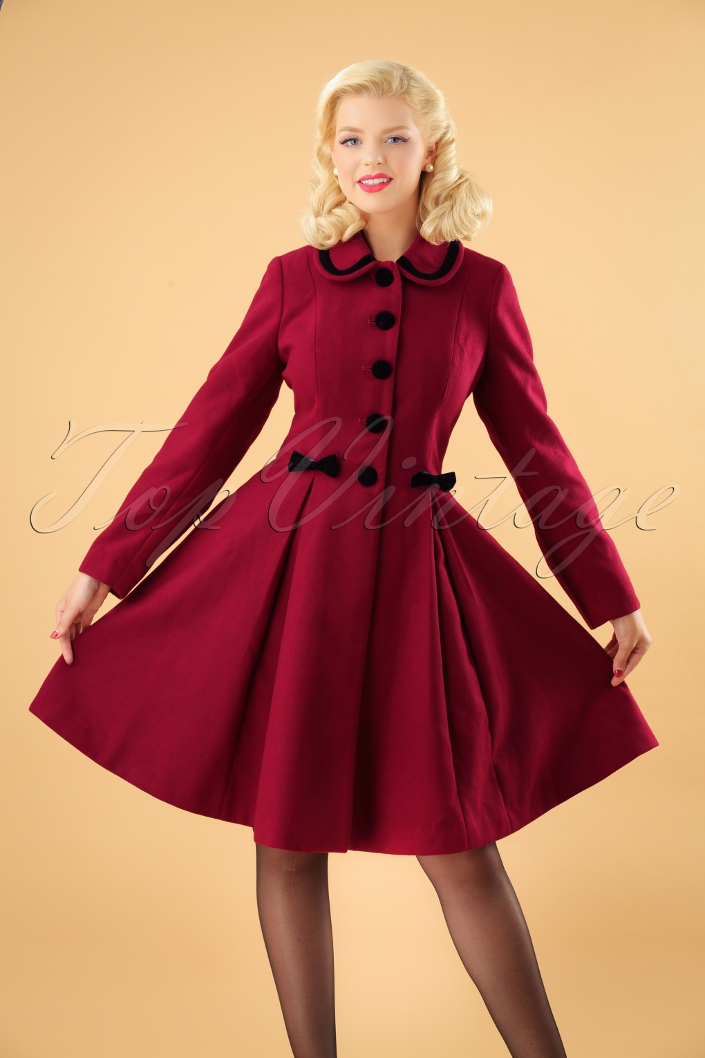 1950s Jackets, Coats, Bolero | Swing, Pin Up, Rockabilly 50s Olivia Bow Coat in Dark Red £67.37 AT vintagedancer.com
