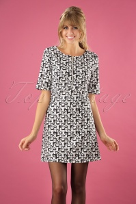 60s Fashion Faces Dress in White