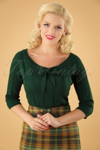 50s Belle Bow Pointelle Top in Forrest Green