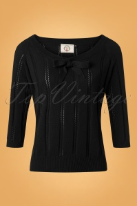 50s Belle Bow Pointelle Top in Black