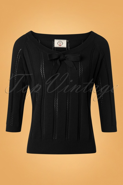 Banned Belle Bow Pointelle Top Black 26189 20180709 0002W