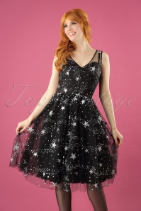 50s Cosmic Love Dress in Black
