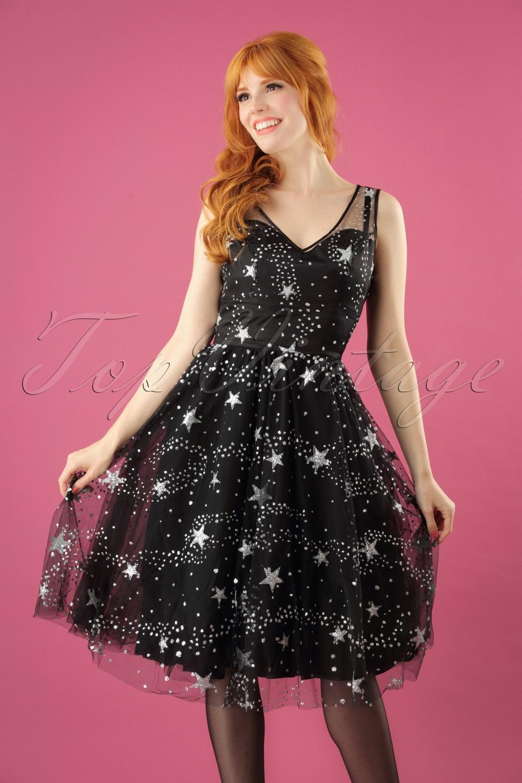 50s Cosmic Love Dress In Black