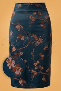 60s Fieke Satin Pencil Skirt in Petrol