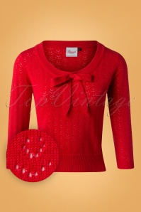 50s Pointelle Bow Top in Red