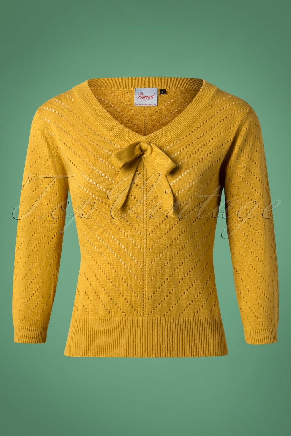 1950s Sweaters, 50s Cardigans, Twin Sweater Sets 50s Charlie Chevron Top in Mustard £32.47 AT vintagedancer.com