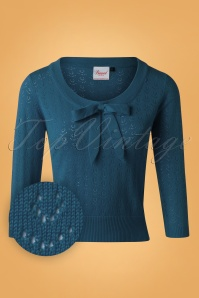 50s Pointelle Bow Top in Steal Blue