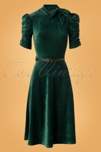 50s Penelope Velvet Swing Dress in Green