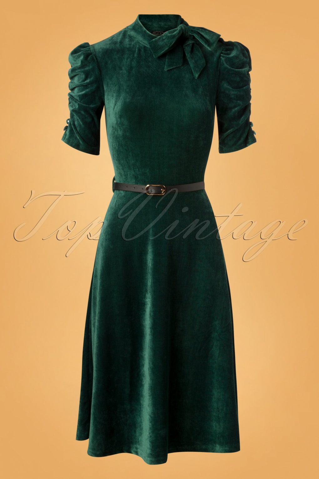 1940s Cocktail Dresses, Party Dresses 50s Penelope Velvet Swing Dress in Green £43.90 AT vintagedancer.com