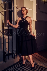 50s Ava Cross Swing Dress in Black