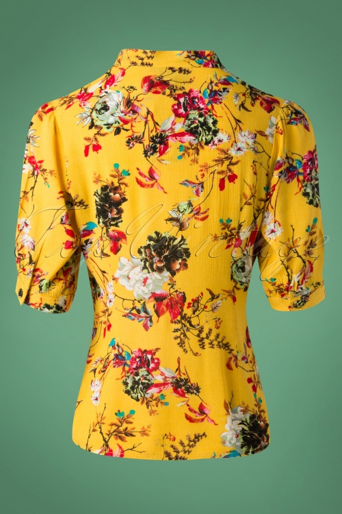 6fa07897e53 Vixen 40s Katherine Floral Blouse in Mustard