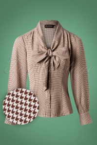 40s Madeline Houndstooth Blouse in Brown