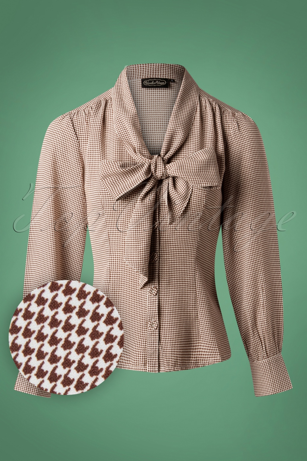 1940s Blouses and Tops 40s Madeline Houndstooth Blouse in Brown £31.13 AT vintagedancer.com