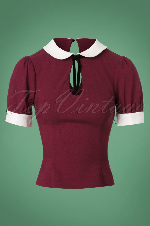 1930s Style Blouses, Shirts, Tops | Vintage Blouses 40s Khloe Top in Wine £30.74 AT vintagedancer.com