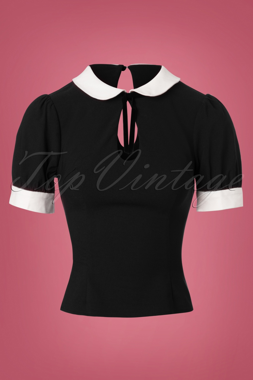 1930s Style Blouses, Shirts, Tops | Vintage Blouses 40s Khloe Top in Black £30.60 AT vintagedancer.com