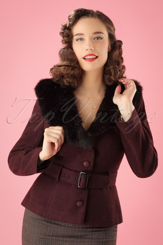 Vintage Coats & Jackets | Retro Coats and Jackets 40s Molly Jacket in Wine £102.46 AT vintagedancer.com