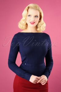 60s Violetta Knitted Top in Night Blue