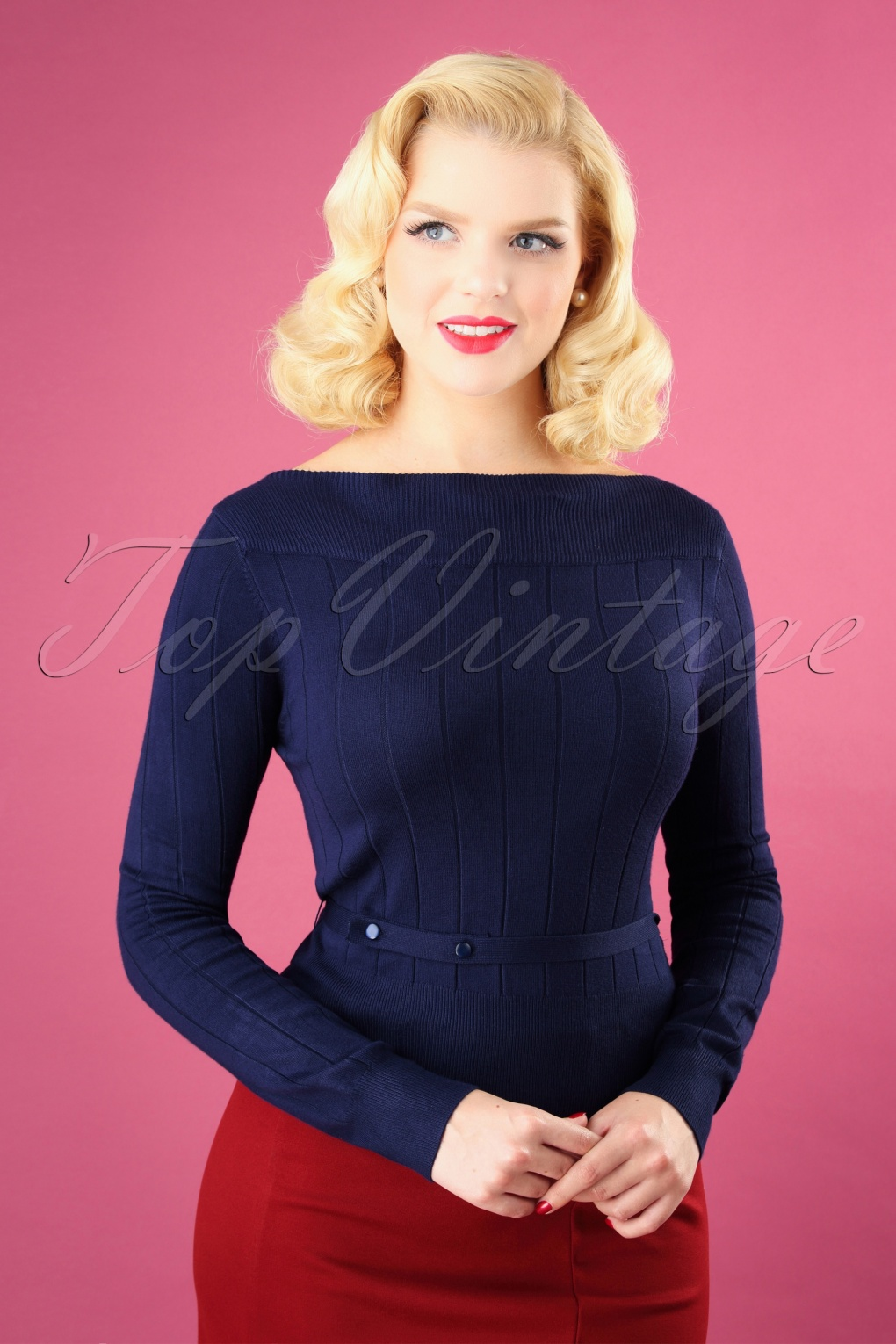 1950s Sweaters, 50s Cardigans, Twin Sweater Sets 60s Violetta Knitted Top in Night Blue £32.47 AT vintagedancer.com
