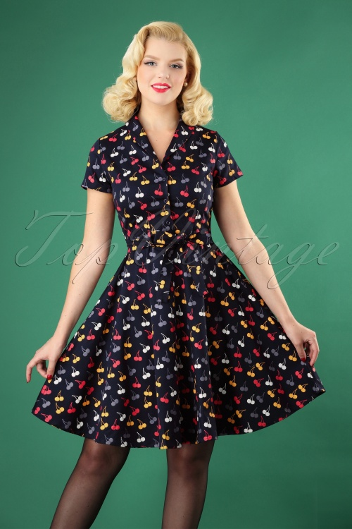 Circus Cherry Print Swing Dress in Navy 102 39 25183 20180822 0002W