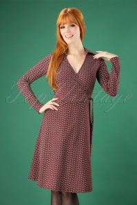 60s Oleave Wrap Dress in Dark Red