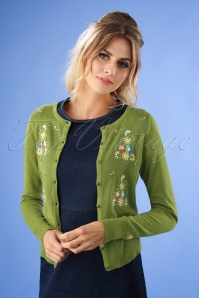 60s Bouquet Roundneck Cardi in Posey Green
