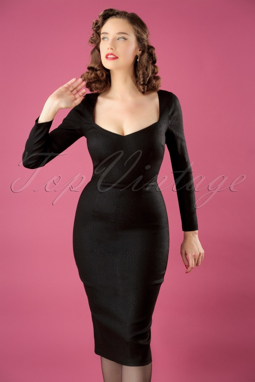 Collectif Clothing Helene Pencil Dress in Black 24883 20180627 01W