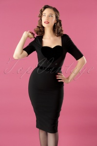 50s Ophelia Pencil Dress in Black