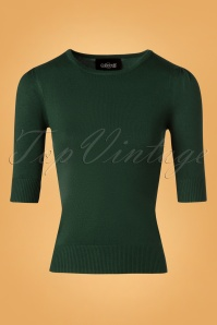 50s Chrissie Knitted Top in Green