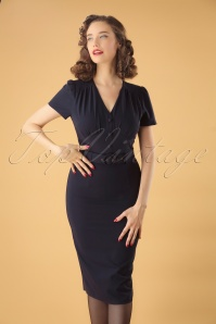 Collectif Clothing 40s Bethany Pencil Dress in Navy
