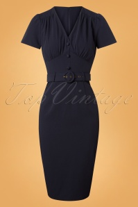 Collectif Clothing Bethany Pencil Dress in Navy 24895 20180627 0003 1W