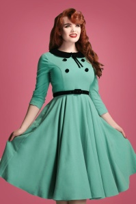 Collectif Clothing 50s Christine Swing Dress in Mint Green