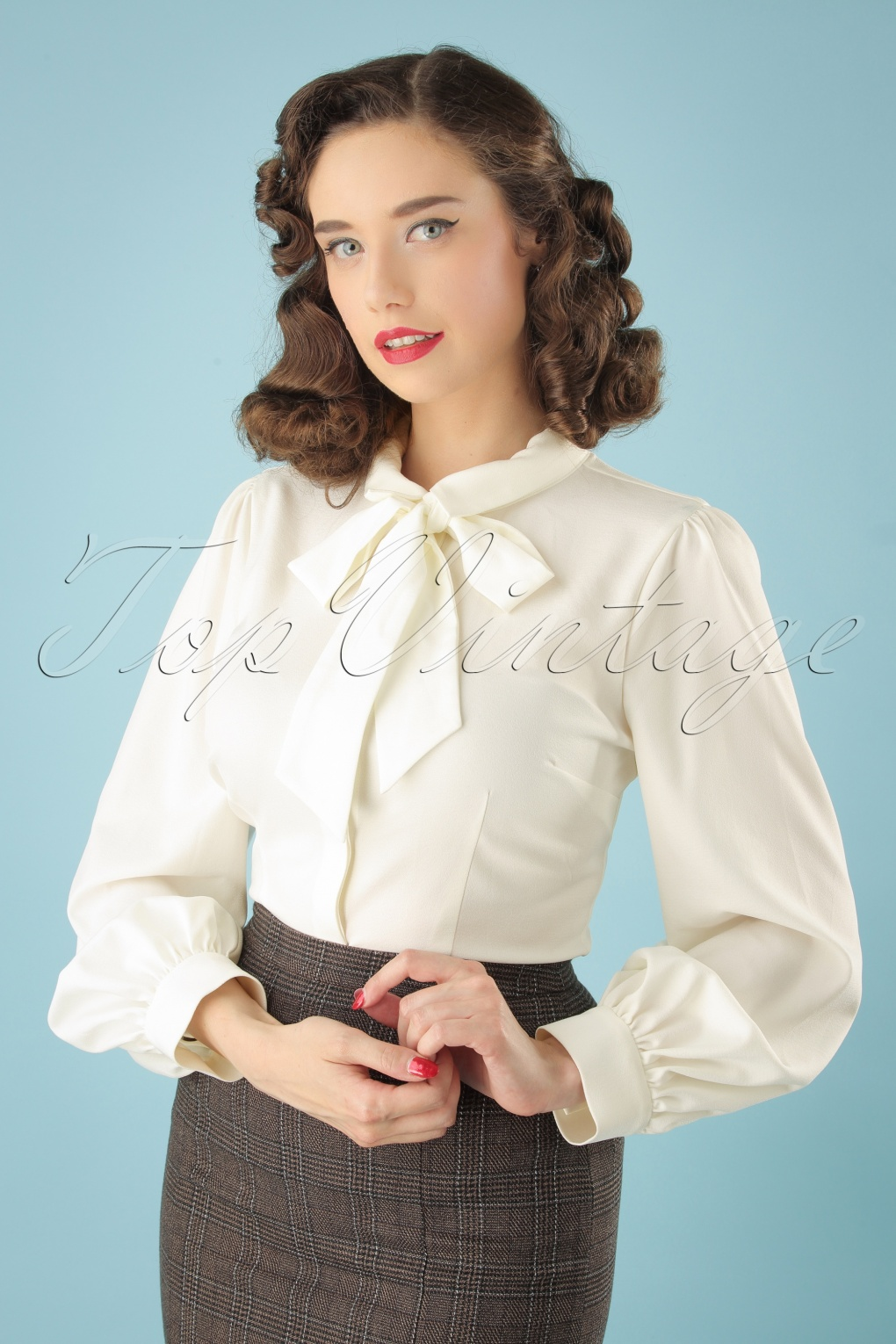 1940s Blouses, Shirts and Tops Fashion History 40s Beccy Blouse in Ivory £36.73 AT vintagedancer.com