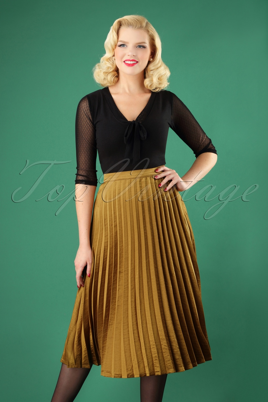1930s Style Skirts : Midi Skirts, Tea Length, Pleated 50s Carole Pleated Skirt in Gold £75.68 AT vintagedancer.com